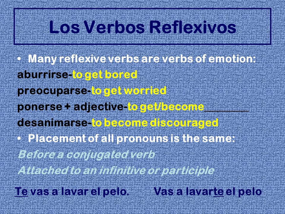 Los Verbos Reflexivos Many reflexive verbs are verbs of emotion: