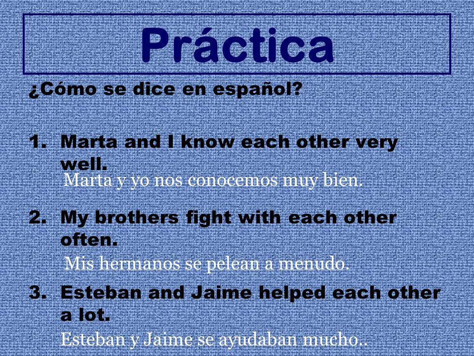 Práctica ¿Cómo se dice en español