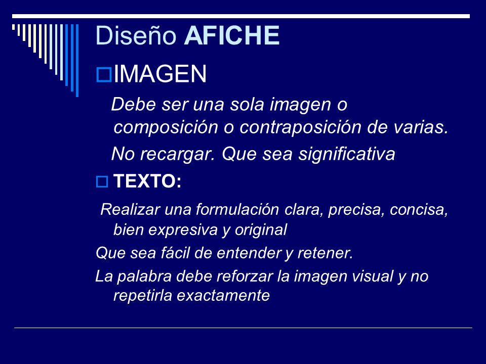 Diseño AFICHE IMAGEN. Debe ser una sola imagen o composición o contraposición de varias. No recargar. Que sea significativa.