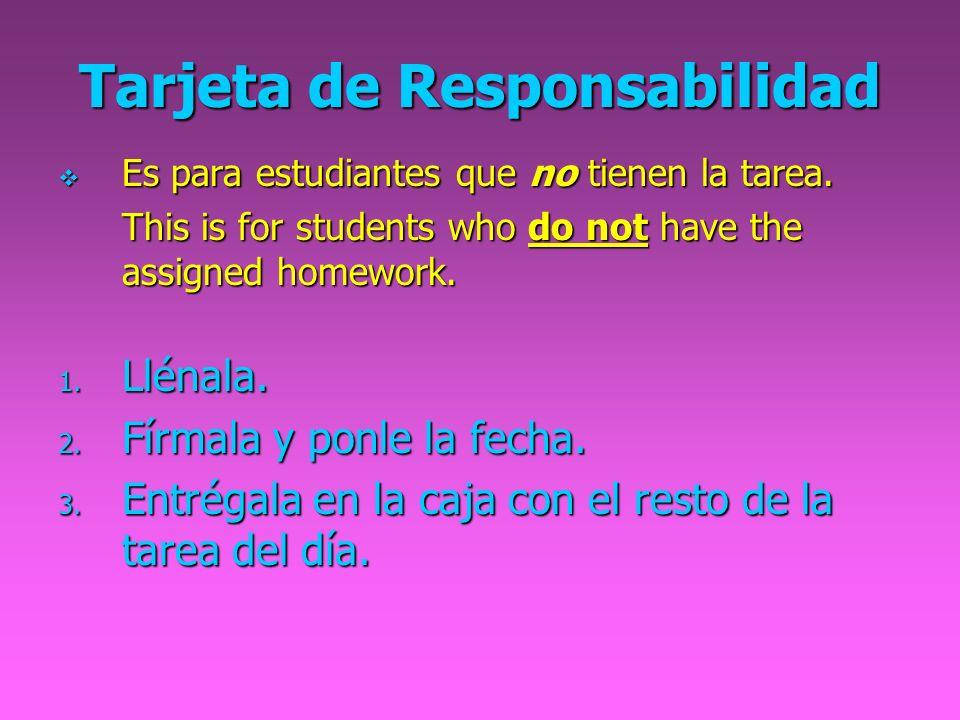 Tarjeta de Responsabilidad