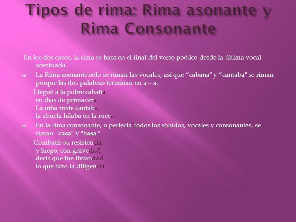 Tipos de rima: Rima asonante y Rima Consonante