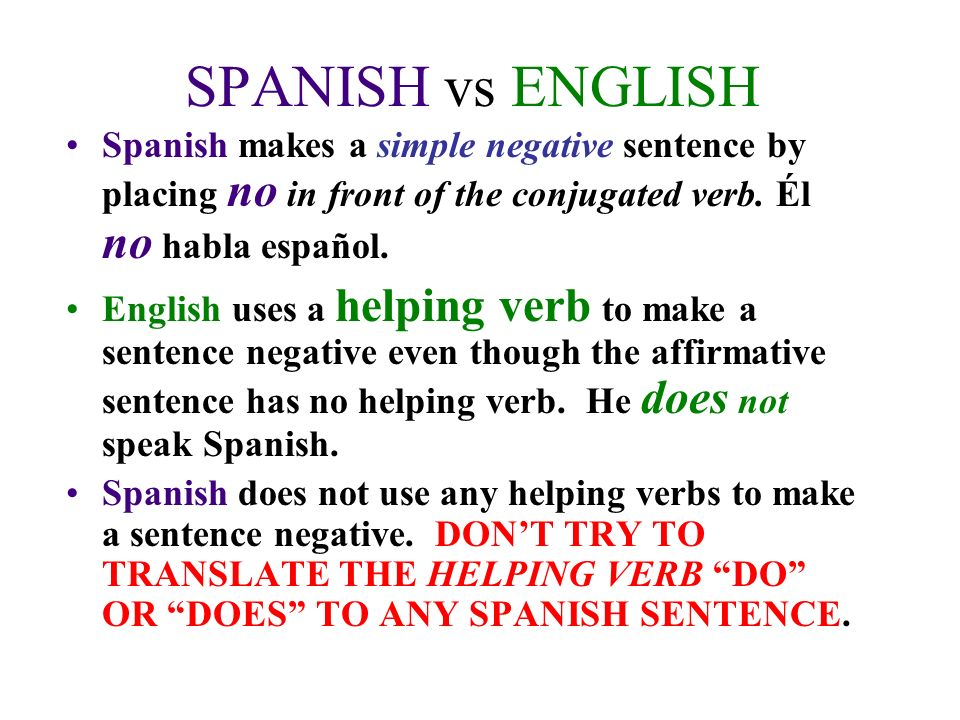 SPANISH vs ENGLISH Spanish makes a simple negative sentence by placing no in front of the conjugated verb. Él no habla español.