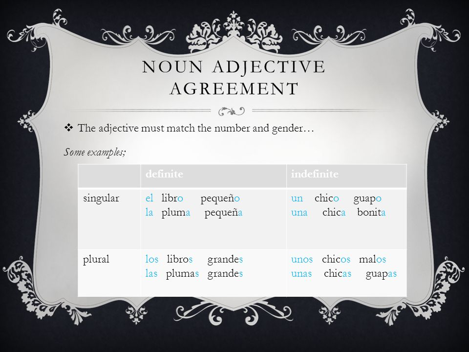 Noun adjective agreement