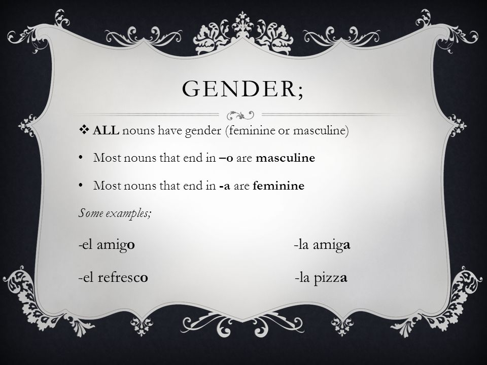 Gender; -el amigo -la amiga -el refresco -la pizza