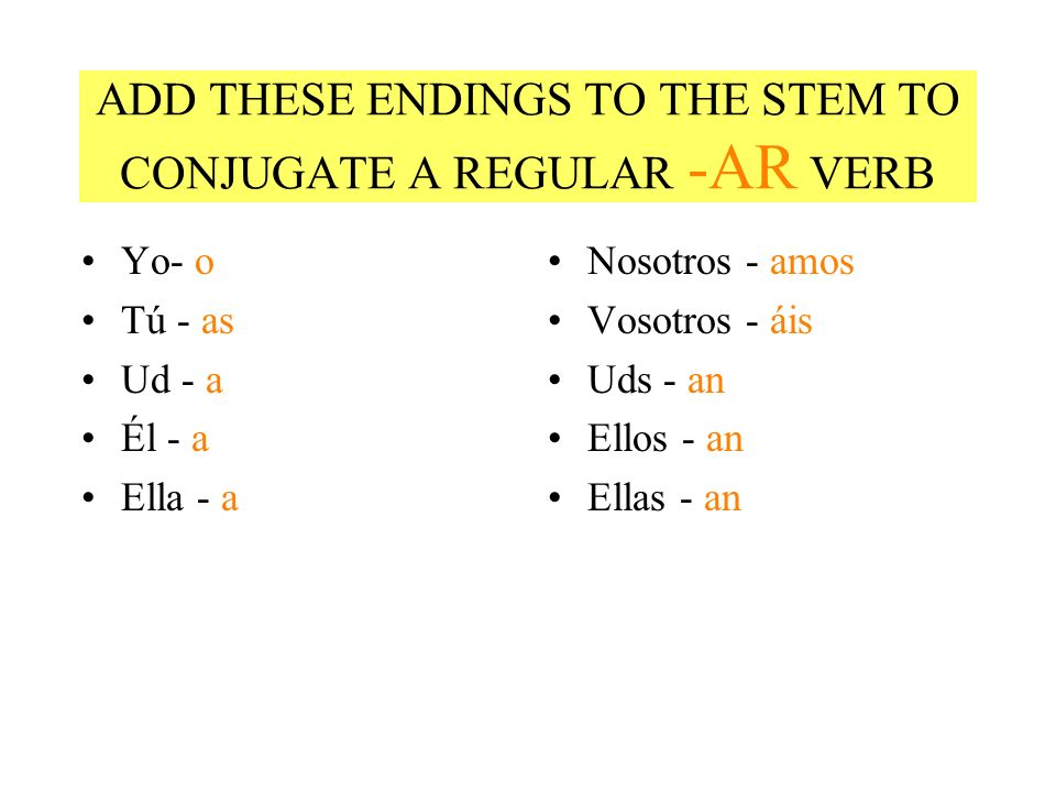 ADD THESE ENDINGS TO THE STEM TO CONJUGATE A REGULAR -AR VERB