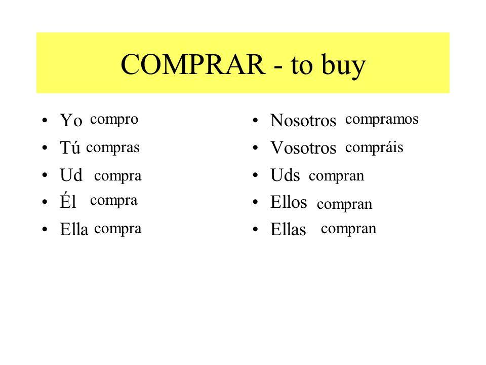 COMPRAR - to buy Yo Tú Ud Él Ella Nosotros Vosotros Uds Ellos Ellas