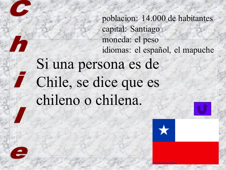 Si una persona es de Chile, se dice que es chileno o chilena. Chile