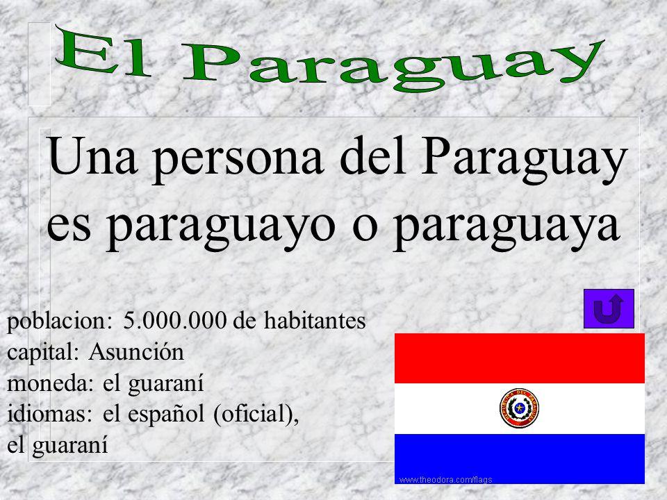 Una persona del Paraguay es paraguayo o paraguaya