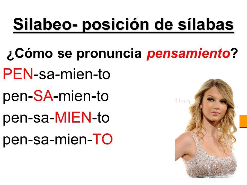 Silabeo- posición de sílabas
