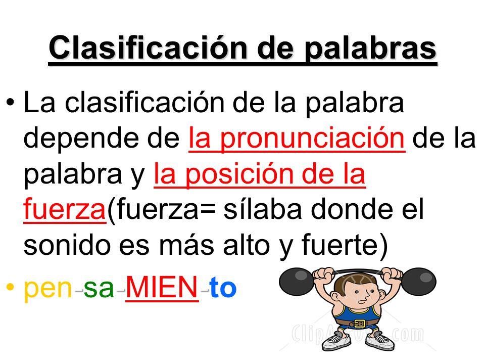 Clasificación de palabras