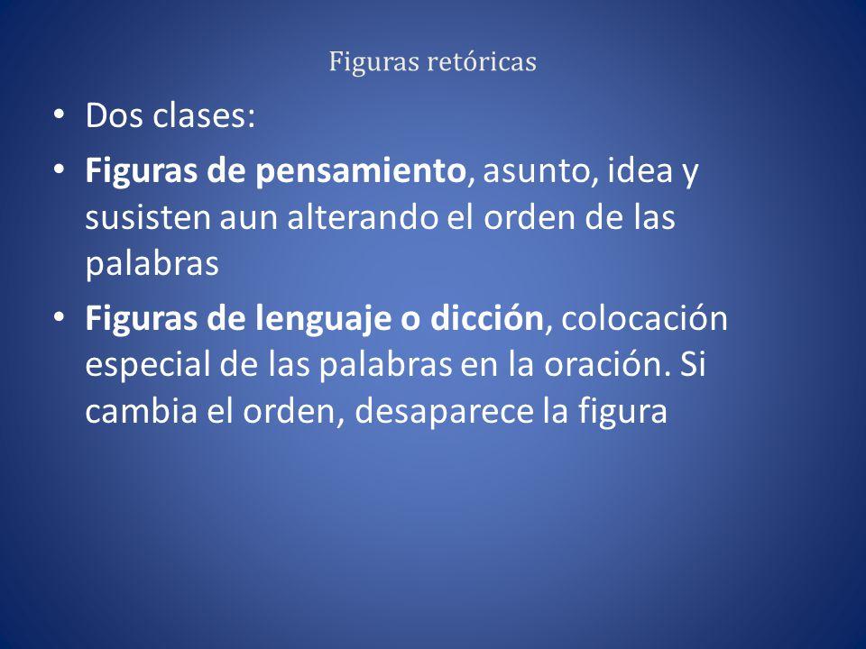 Figuras retóricas Dos clases: Figuras de pensamiento, asunto, idea y susisten aun alterando el orden de las palabras.