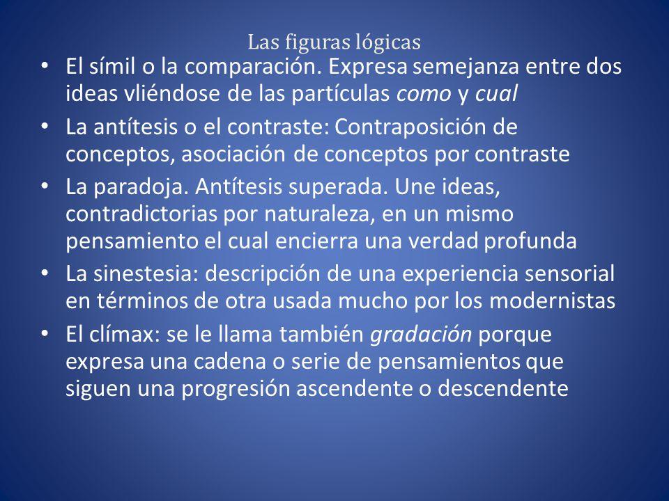 Las figuras lógicas El símil o la comparación. Expresa semejanza entre dos ideas vliéndose de las partículas como y cual.