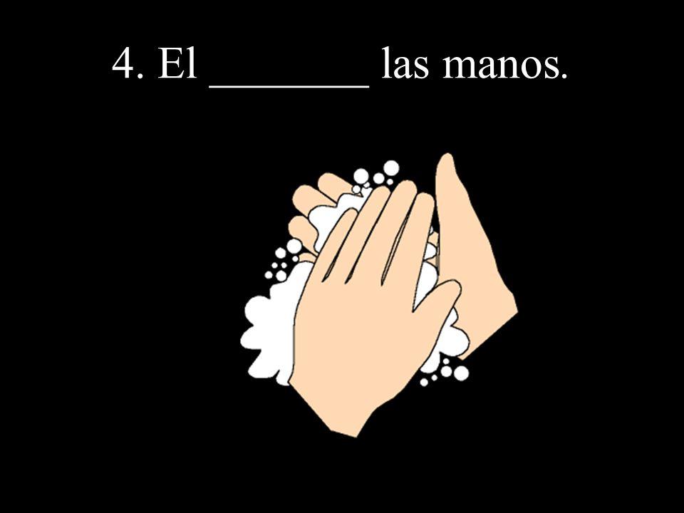 4. El _______ las manos.