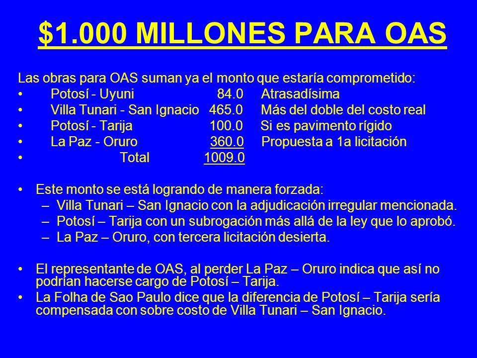 $1.000 MILLONES PARA OAS Las obras para OAS suman ya el monto que estaría comprometido: Potosí - Uyuni 84.0 Atrasadísima.