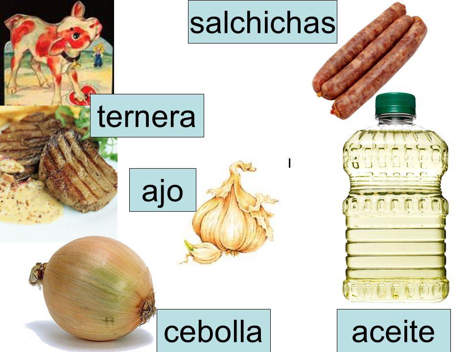 salchichas ternera ajo cebolla aceite