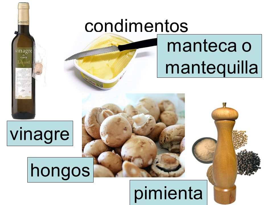 condimentos manteca o mantequilla vinagre hongos pimienta