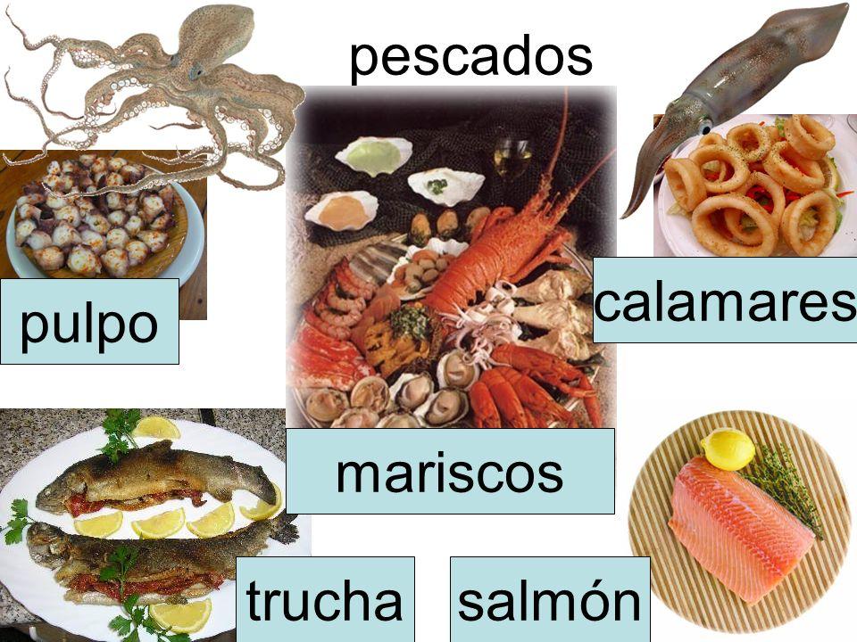 pescados calamares pulpo mariscos trucha salmón