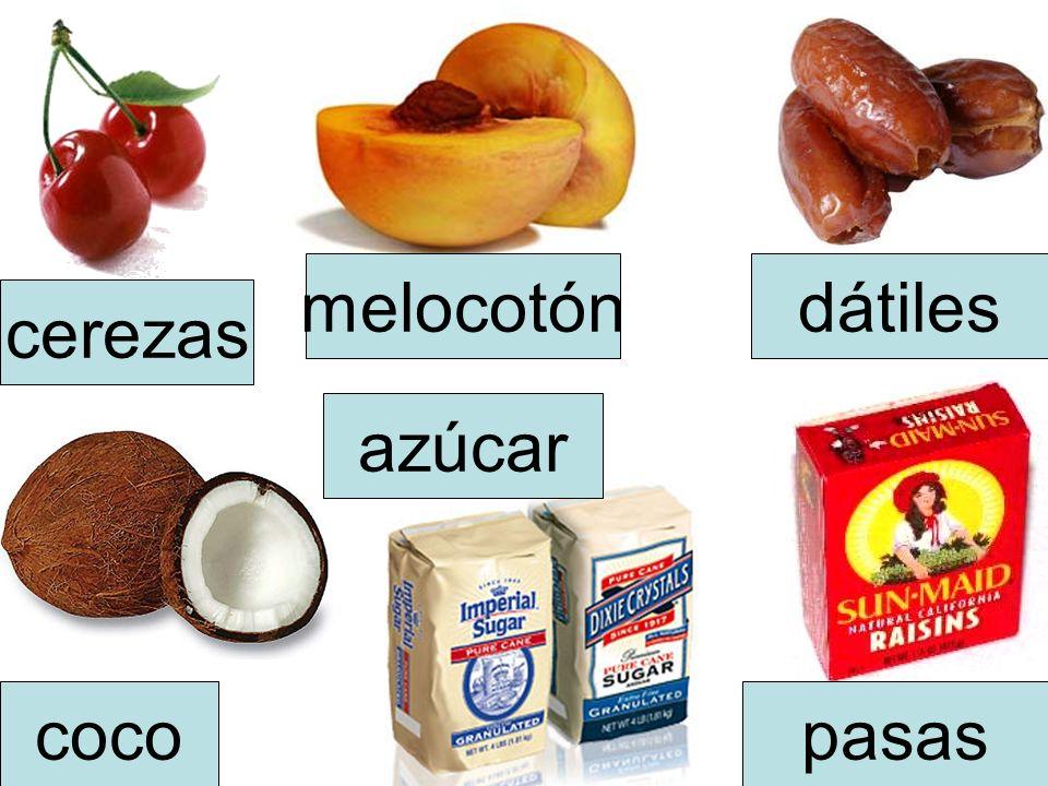 melocotón dátiles cerezas azúcar coco pasas