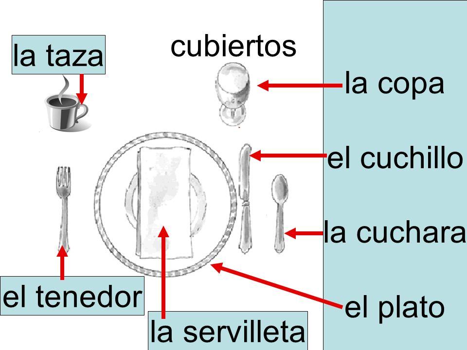 la copa el cuchillo la cuchara el plato cubiertos la taza el tenedor la servilleta