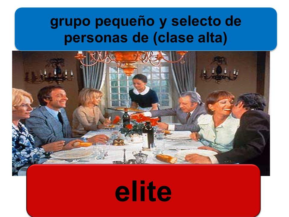 grupo pequeño y selecto de personas de (clase alta)