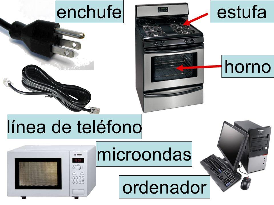enchufe estufa horno línea de teléfono microondas ordenador