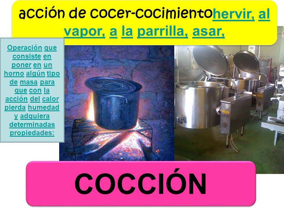 acción de cocer-cocimientohervir, al vapor, a la parrilla, asar,