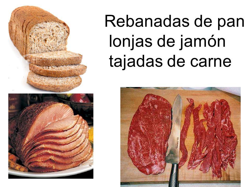 Rebanadas de pan lonjas de jamón tajadas de carne