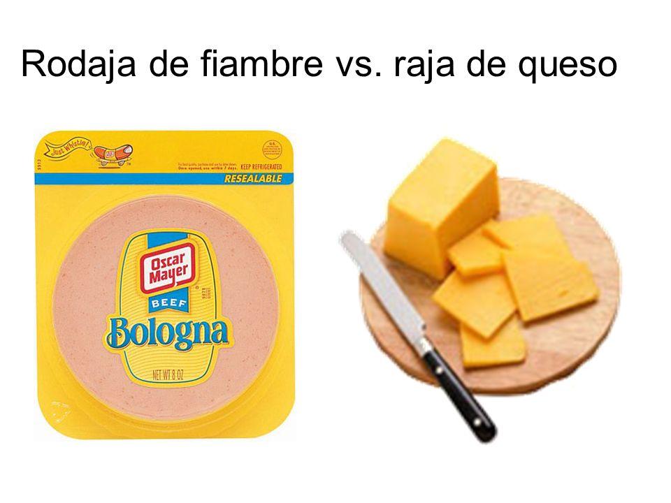 Rodaja de fiambre vs. raja de queso