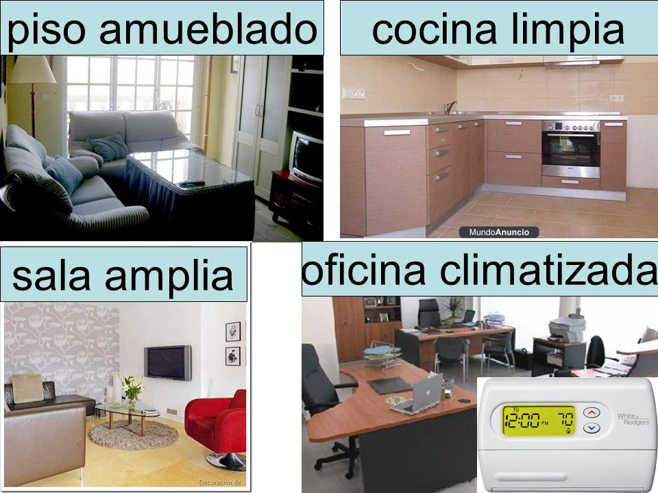 piso amueblado cocina limpia oficina climatizada sala amplia