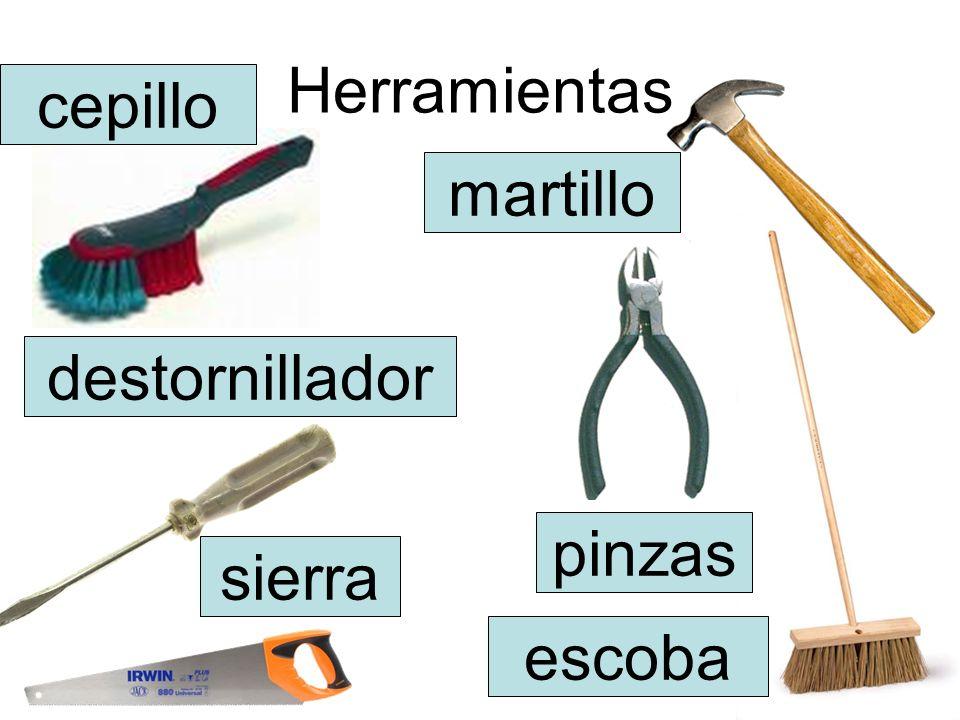 Herramientas cepillo martillo destornillador pinzas sierra escoba