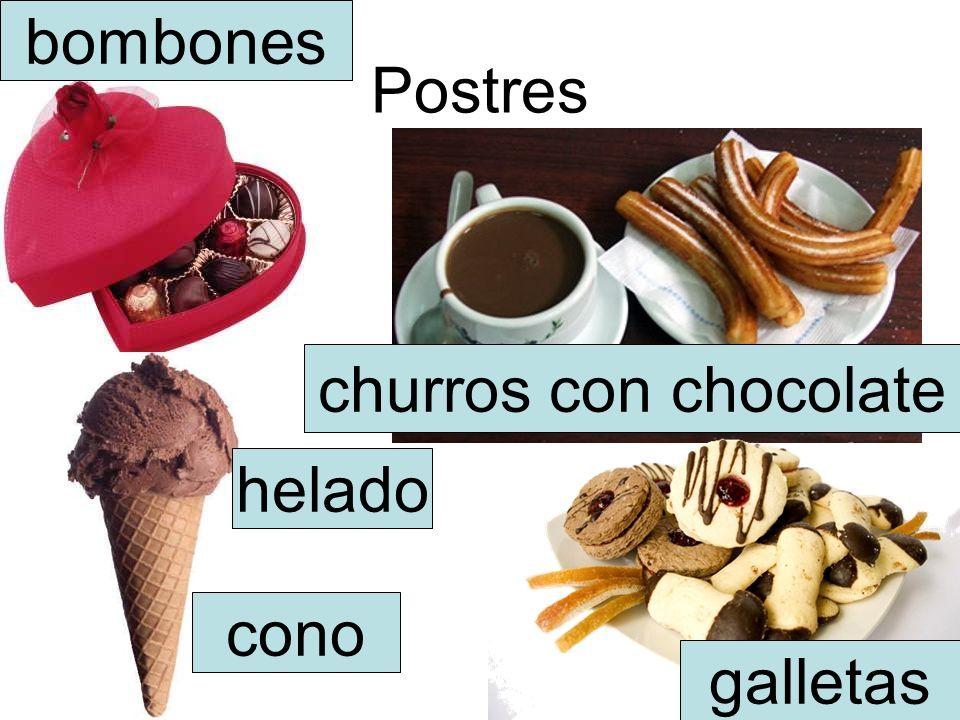 bombones Postres churros con chocolate helado cono galletas