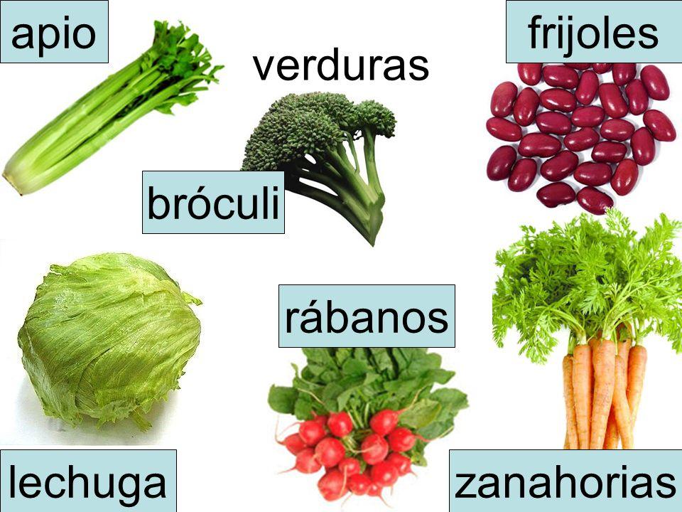 apio frijoles verduras bróculi rábanos lechuga zanahorias