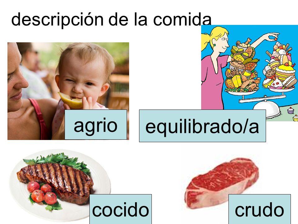 descripción de la comida