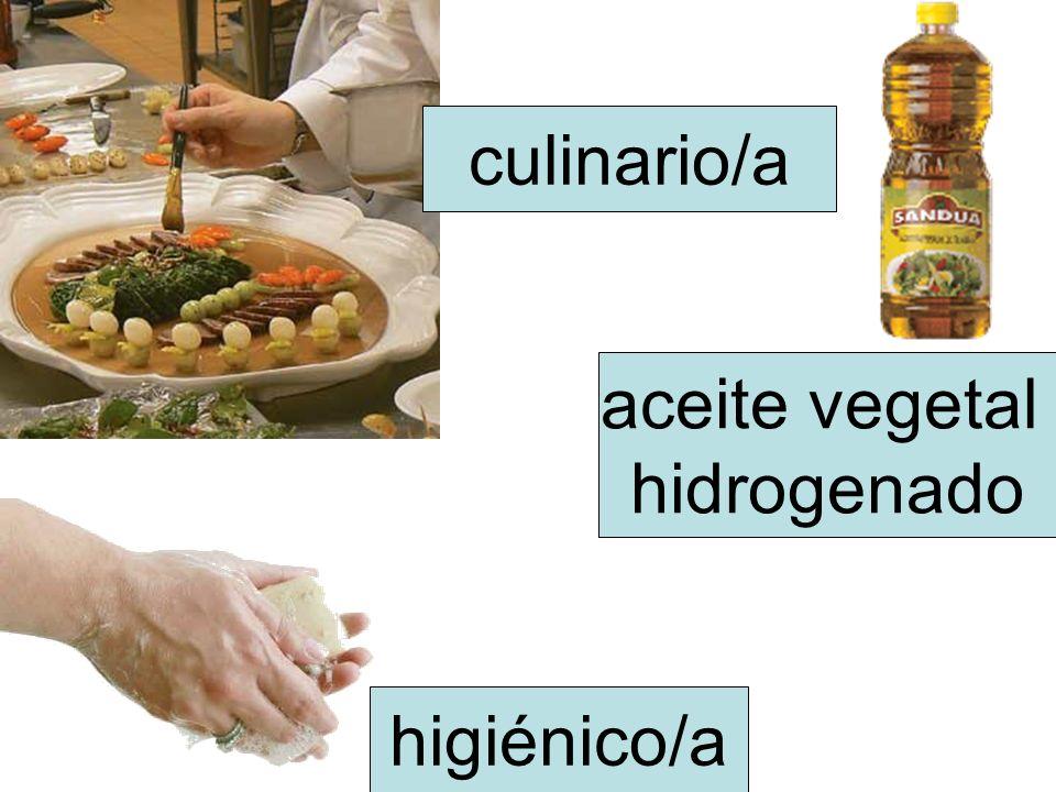 culinario/a aceite vegetal hidrogenado higiénico/a