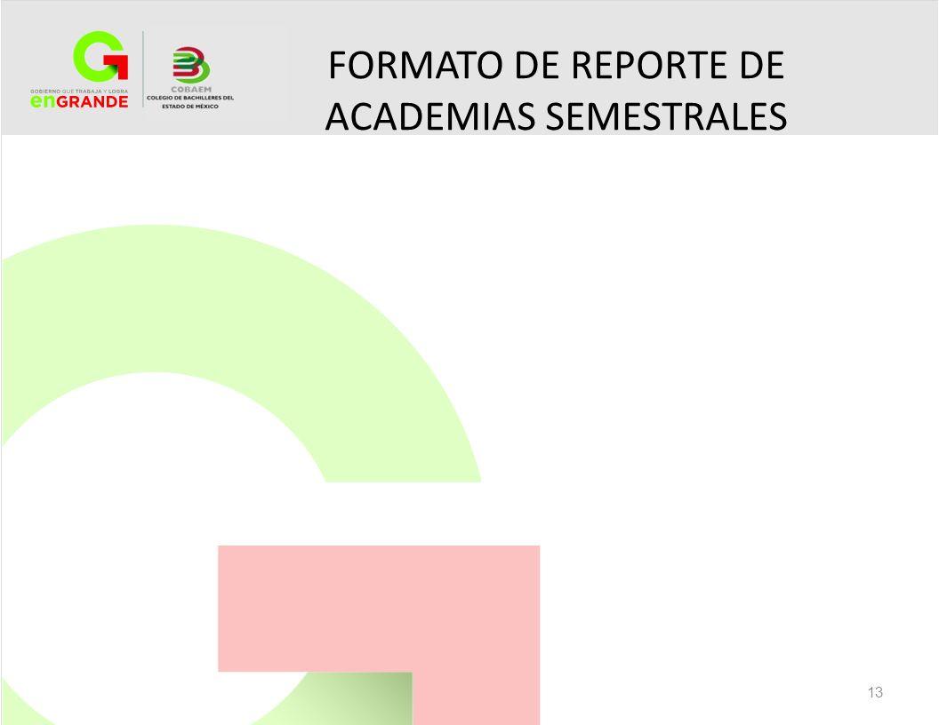 FORMATO DE REPORTE DE ACADEMIAS SEMESTRALES