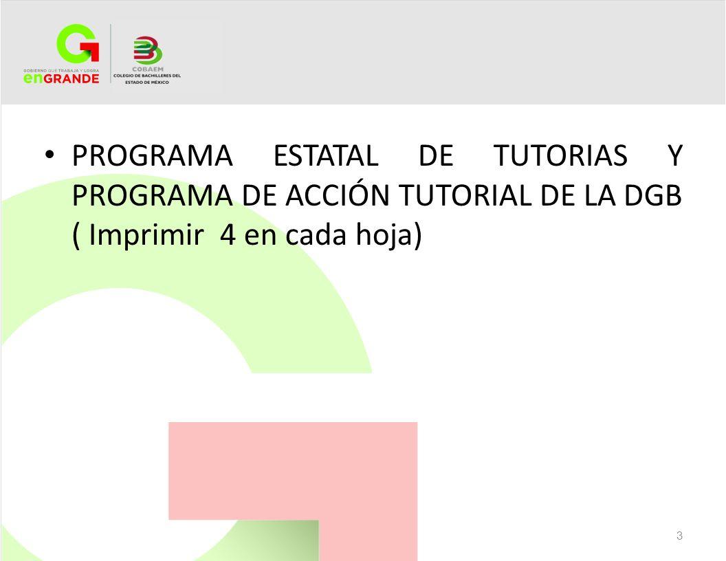 PROGRAMA ESTATAL DE TUTORIAS Y PROGRAMA DE ACCIÓN TUTORIAL DE LA DGB ( Imprimir 4 en cada hoja)