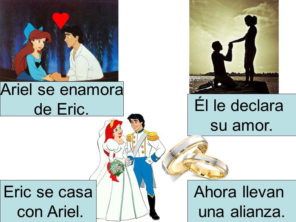 Ariel se enamora de Eric. Él le declara su amor. Eric se casa con Ariel. Ahora llevan una alianza.