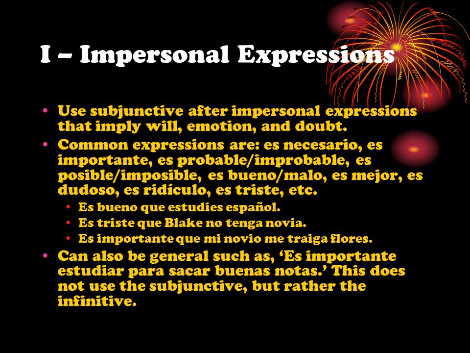 I – Impersonal Expressions