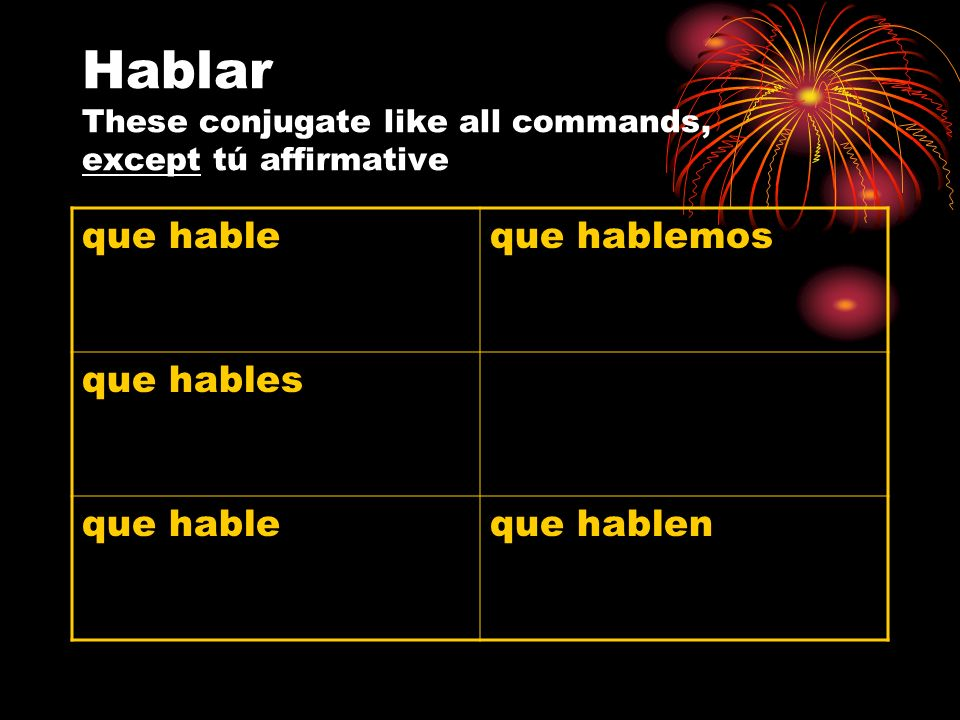 Hablar These conjugate like all commands, except tú affirmative