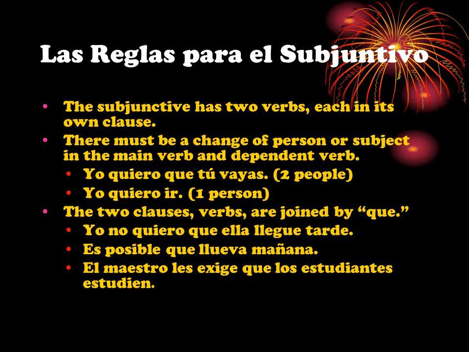 Las Reglas para el Subjuntivo