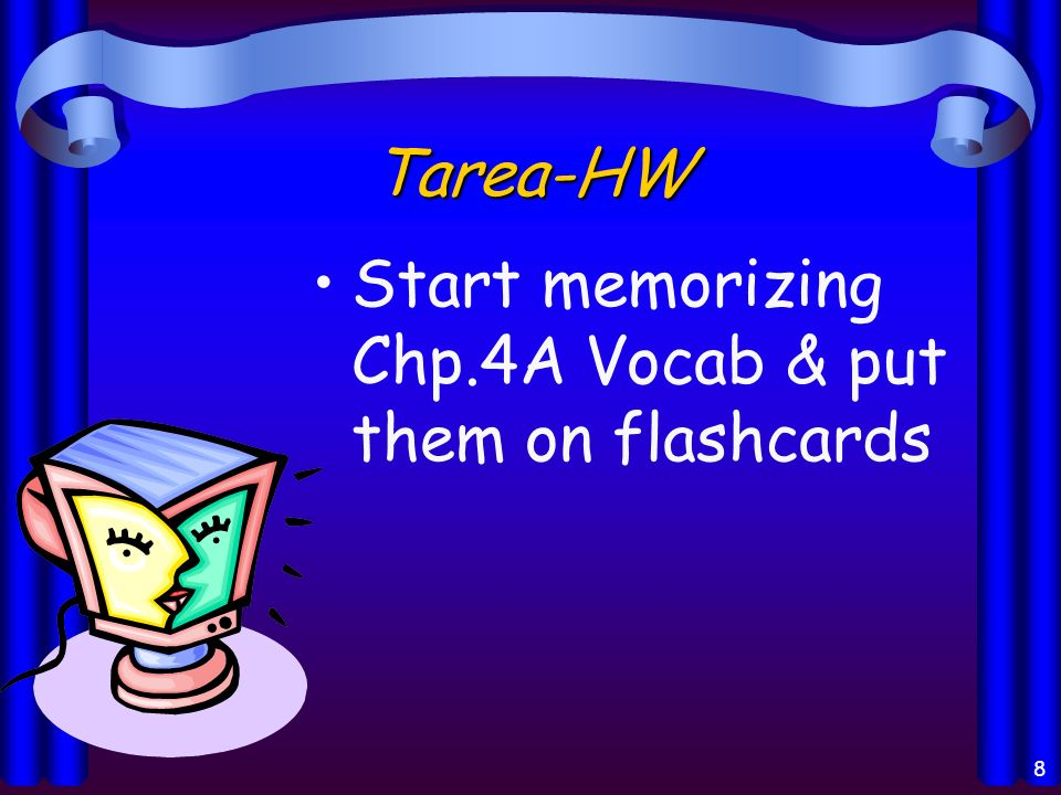 Tarea-HW Start memorizing Chp.4A Vocab & put them on flashcards