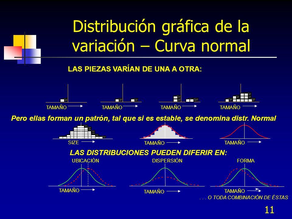 Distribución gráfica de la variación – Curva normal
