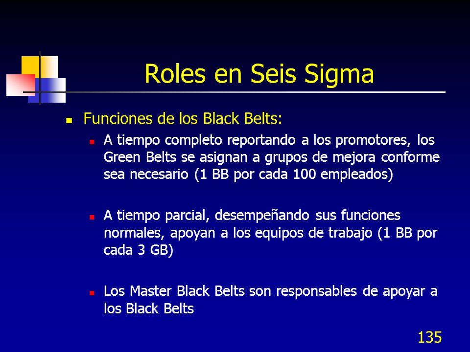 Roles en Seis Sigma Funciones de los Black Belts: