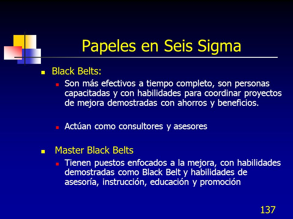 Papeles en Seis Sigma Black Belts: Master Black Belts
