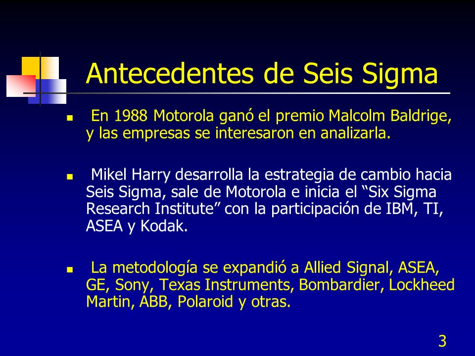 Antecedentes de Seis Sigma