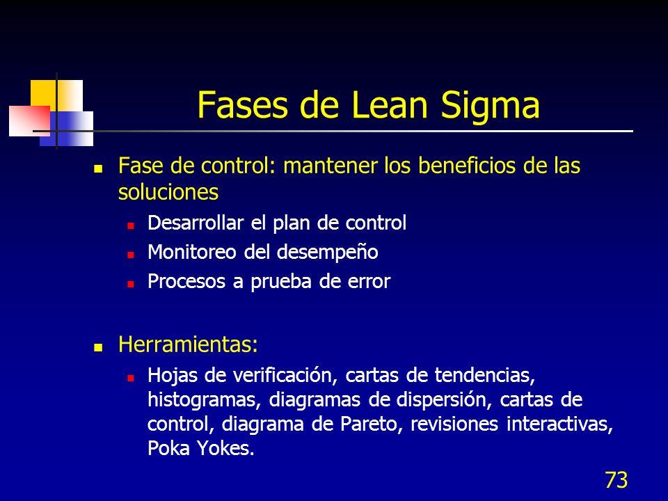 Fases de Lean Sigma Fase de control: mantener los beneficios de las soluciones. Desarrollar el plan de control.