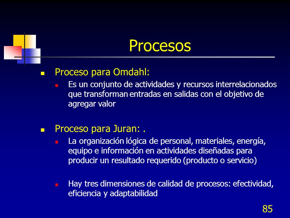 Procesos Proceso para Omdahl: Proceso para Juran: .