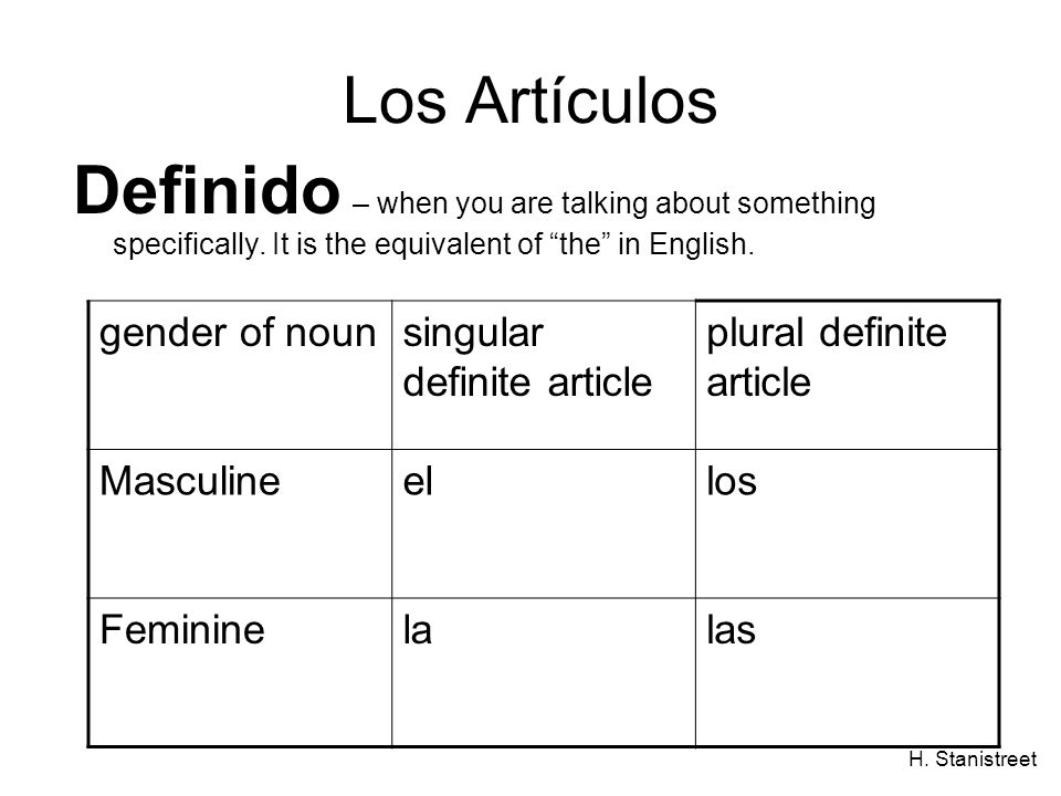 Los Artículos Definido – when you are talking about something specifically. It is the equivalent of the in English.