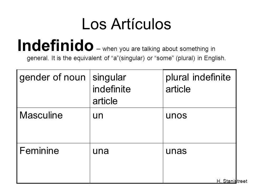 Los Artículos Indefinido – when you are talking about something in general. It is the equivalent of a (singular) or some (plural) in English.