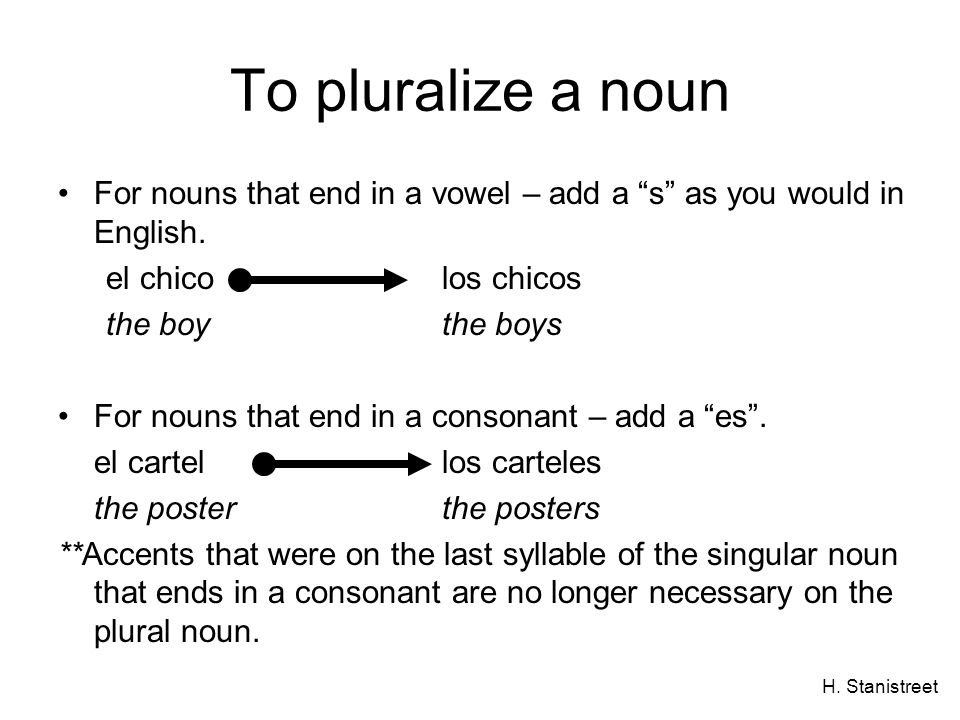 To pluralize a noun For nouns that end in a vowel – add a s as you would in English. el chico los chicos.